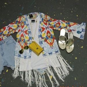 Jackets & Blazers - White Kimono with fringe